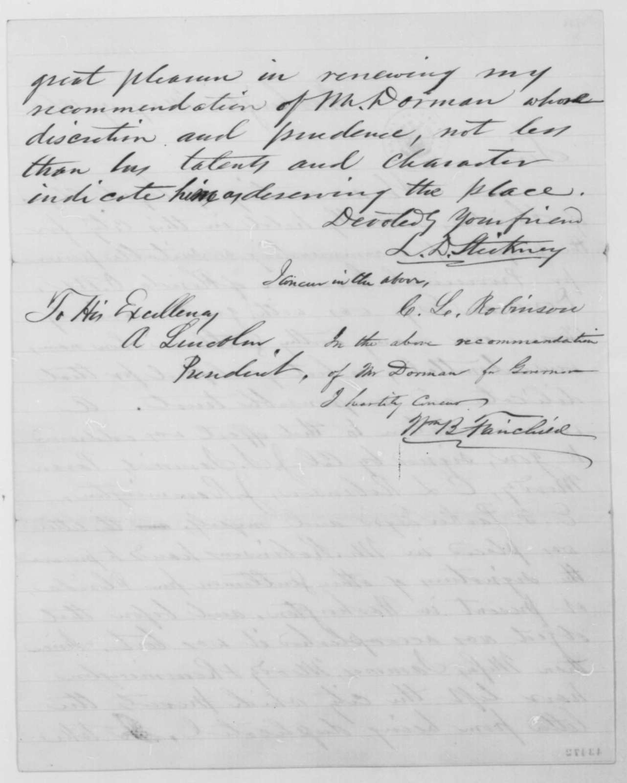 Lyman D. Stickney, et al. to Abraham Lincoln, Saturday, May 17, 1862  (Recommendation)