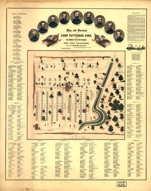 Map and directory of Camp Patterson Park [Baltimore, Maryland] One Hundred and Tenth Regiment of New York Volunteers. Col. D. C. Littlejohn, commanding