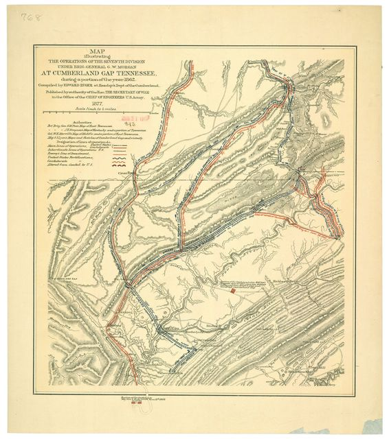 Map illustrating the operations of the Seventh Division under Brig. General G.W. Morgan at Cumberland Gap, Tennessee during a portion of the year 1862