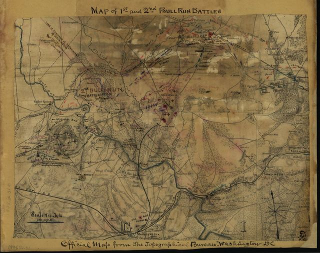 Map of 1st and 2nd Bull Run battles. Official map from the Topographical Bureau, Washington, D.C.