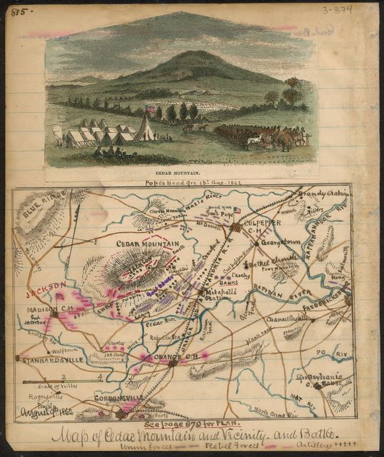 Map of Cedar Mountain and vicinity - and battle.