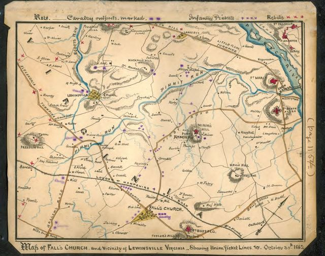 Map of Falls Church and vicinity of Lewinsville, Virginia : shewing [sic] Union picket lines October 30th 1862.