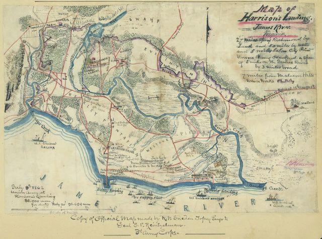 Map of Harrison's Landing, James River, Virginia.