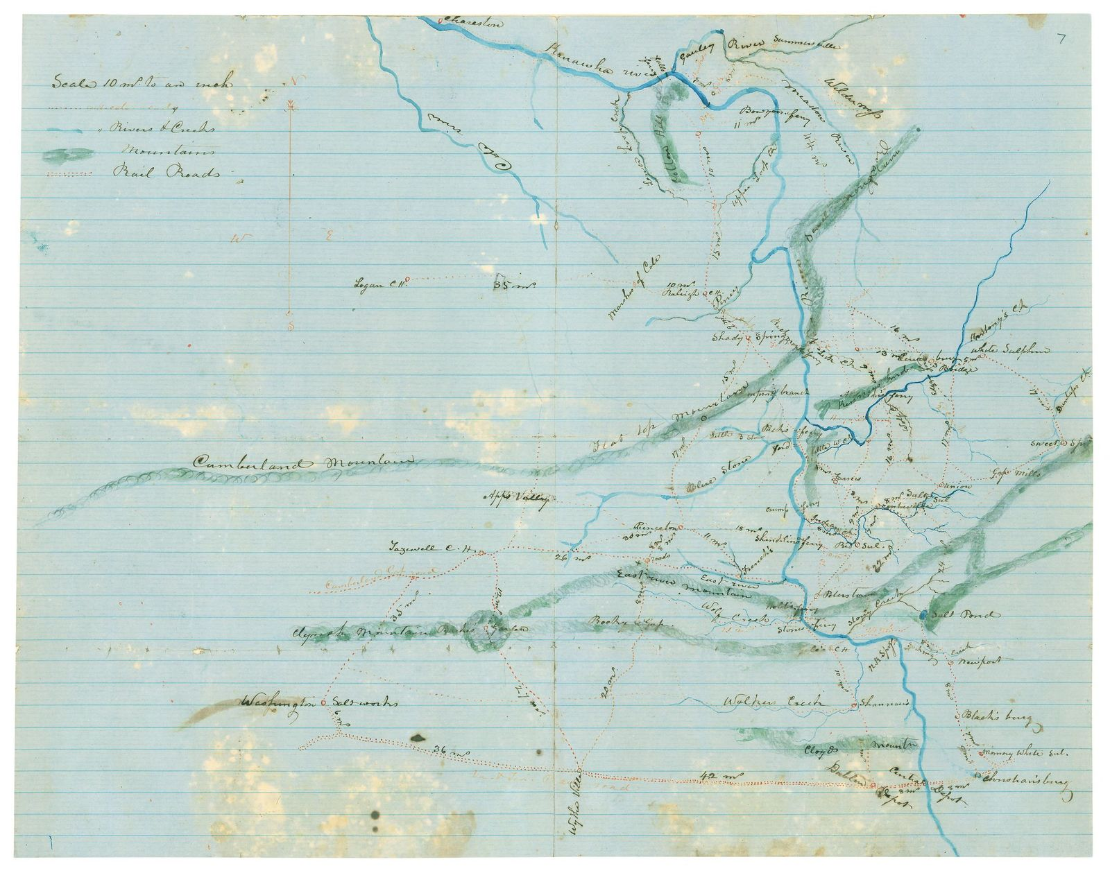 [Map of Kanawha, Boone, Logan, Wyoming, McDowell, Mercer, Raleigh, Fayette, Nicholas, Greenbrier, Summers and Monroe Counties, West Va., and Tazewell, Smyth, Washington, Bland, Giles, Craig, Montgomery, Pulaski and Wythe Counties, Va. /