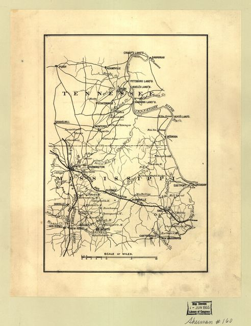 [Map of part of the counties of McNairy and Hardin, Tennessee, and Alcorn and Tishomingo, Mississippi.] /