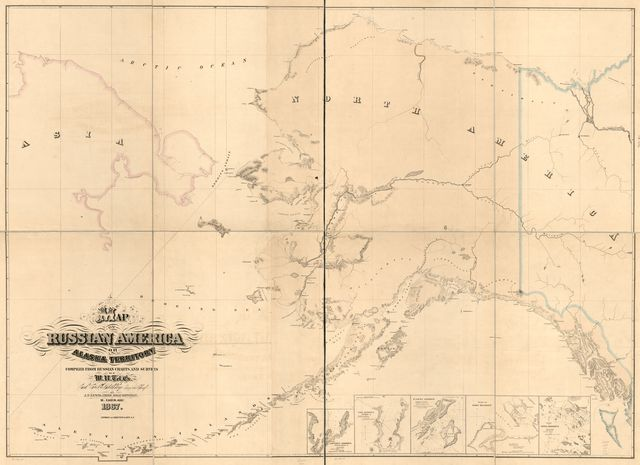 Map of Russian America or Alaska Territory.