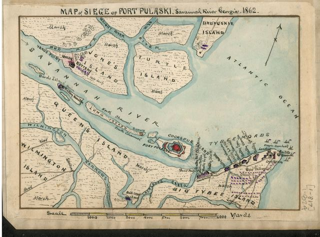 Map of siege of Fort Pulaski : Savannah River Georgia. 1862.