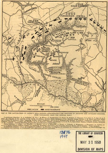 Map of the battle-field of Gaines's Mill, showing approximately the positions of infantry and artillery engaged. (The topography from the official map.) [June 27, 1862].