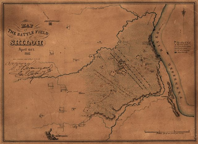 Map of the battle field of Shiloh, April 6 & 7, 1862 /