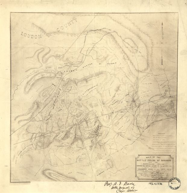 Map of the battle fields of Manassas and the surrounding region : showing the various actions of the 21st July, 1861, between the armies of the Confederate States and the United States /