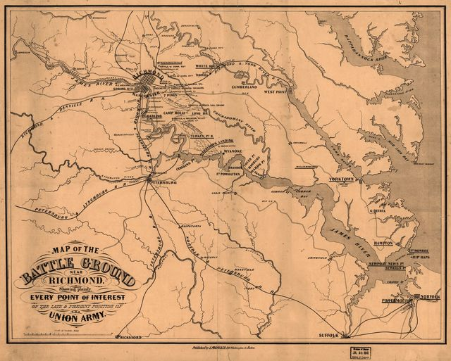 Map of the battle ground near Richmond, showing plainly, every point of interest of the late & present position of the Union army.
