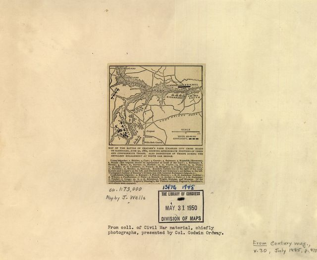 Map of the battle of Frayser's Farm (Charles City cross roads or Glendale), June 30, 1862, showing approximate positions of Union and Confederate troops. Also disposition of troops during the military engagement at White Oak Bridge.