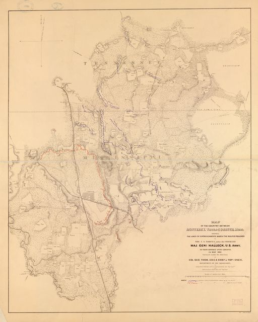 Map of the country between Monterey, Tenn: & Corinth, Miss: showing the lines of entrenchments made & the routes followed by the U.S. forces under the command of Maj. Genl. Halleck, U.S. Army, in their advance upon Corinth in May 1862: /