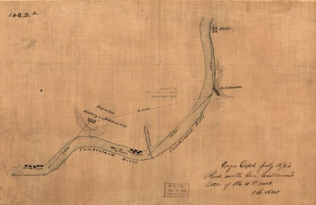 [Map of the environs of Fort Donelson, Tennessee, Feb. 1862].