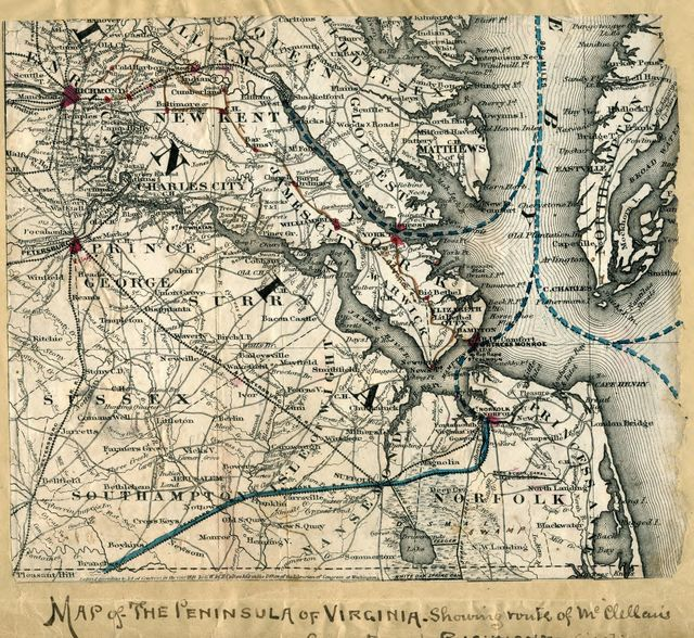 Map of the Peninsula of Virginia : showing route of McClellan's Army toward Richmond [illegible].