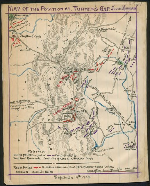 Map of the position at Turner's Gap. South Mountain.