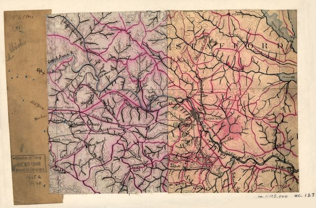 [Map of the vicinity of Fredericksburg, Va.].