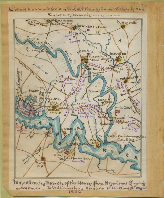 Map shewing [sic] march of the [U.S.] Army from Harrison's Landing or Westover to Williamsburg, Virginia, 15th, 16th, 17th and 18th August.