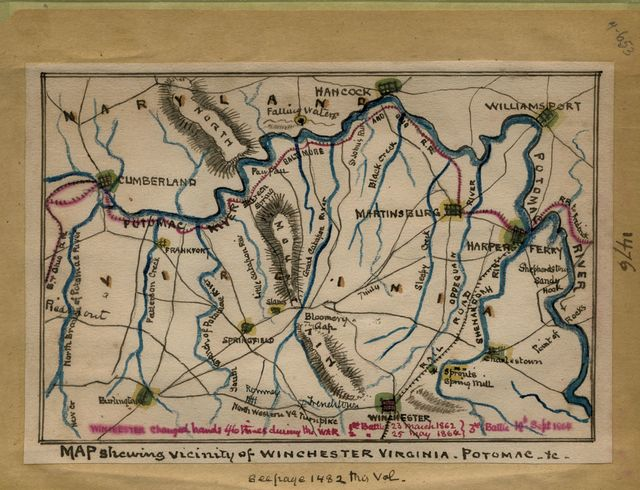 Map shewing [sic] vicinity of Winchester, Virginia, Potomac, etc.