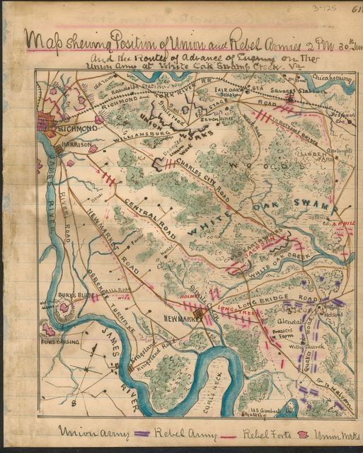 Map showing position Union and Rebel armies 2 p.m. 30th June : and the routes of advance of enemy on the Union Army at White Oak Swamp Creek Va.