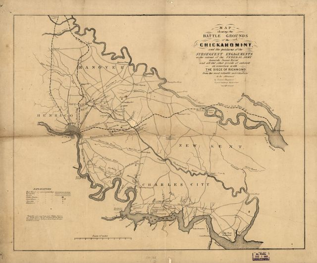Map showing the battle grounds of the Chickahominy, and the positions of the subsequent engagements in the retreat of the Federal army towards James River and all the other points of interest in connection with the siege of Richmond from the most reliable information to be obtained by Edwin Sheppard.