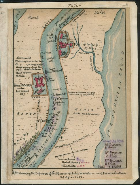 Map showing the defenses of the Mississippi below New Orleans and Farragut's attack 24 April 1862.