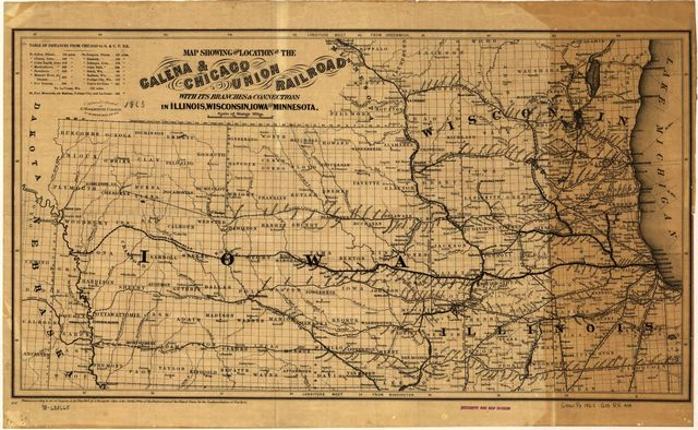 Map showing the location of the Galena & Chicago Union Railroad with its branches & connections in Illinois, Wisconsin, Iowa and Minnesota.