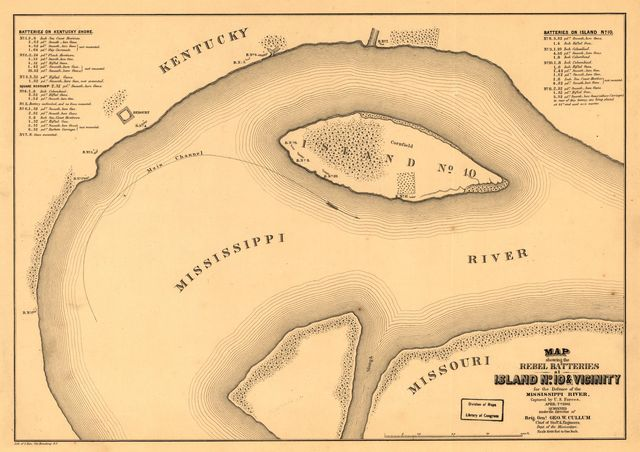 Map showing the Rebel batteries at Island no. 10 & vicinity for the defence of the Mississippi River, captured by U.S. forces, April 7th 1862