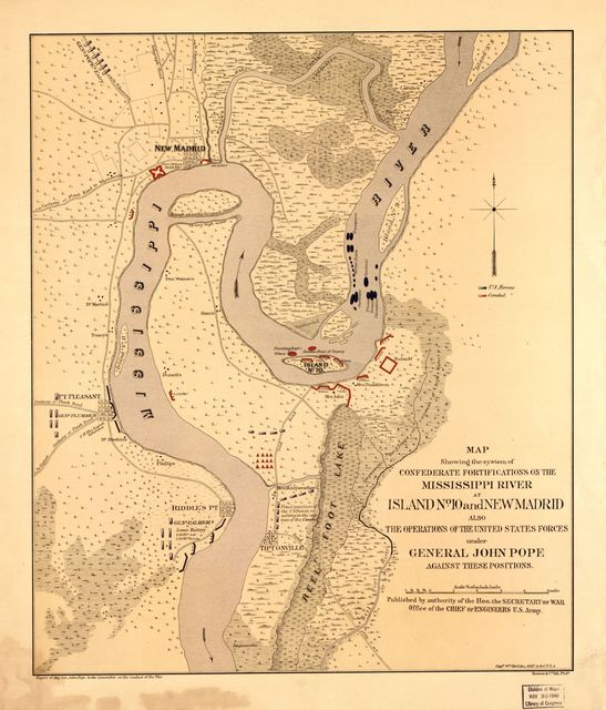 Map showing the system of Confederate fortifications on the Mississippi River at Island No. 10 and New Madrid, also the operations of the United States forces under General John Pope, against these positions /
