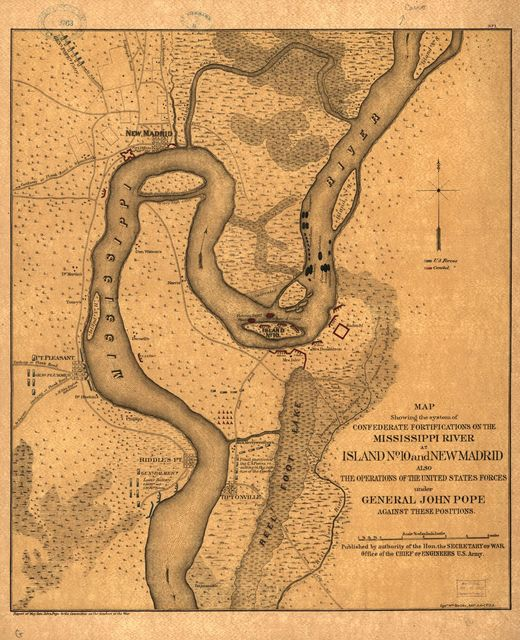 Map showing the system of Confederate fortifications on the Mississippi River at Island no. 10 and New Madrid, also the operations of the United States forces under General John Pope against these positions