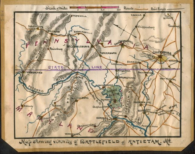 Map showing vicinity of battlefield of Antietam Md.