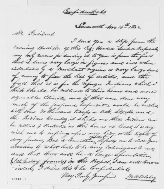 Mark W. Delahay to Abraham Lincoln, Sunday, November 16, 1862  (Sends clipping concerning appropriations for refugee Indians)