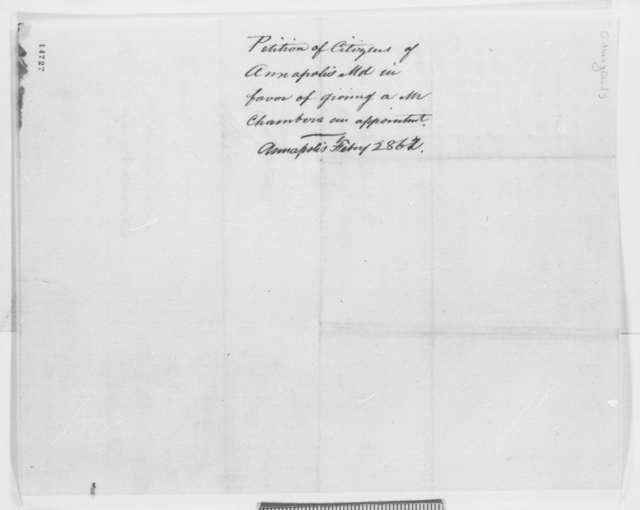 Maryland Legislature to Abraham Lincoln, Friday, February 28, 1862  (Petition recommending appointment)