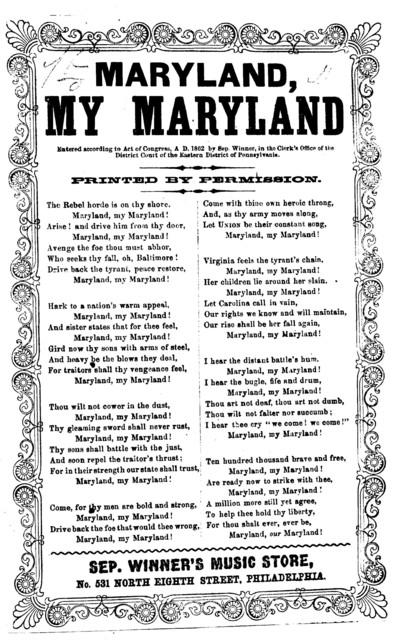 Maryland, my Maryland. Sep. Winner's music store, Phila. [c. 1862]