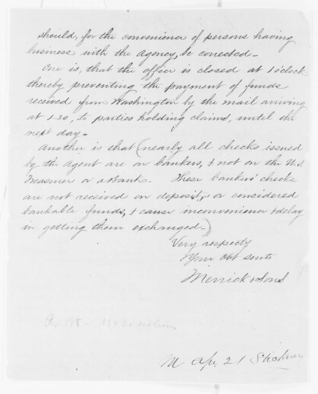 Merrick & Sons to Gideon Welles, Friday, April 18, 1862  (Seek payment for contracts)