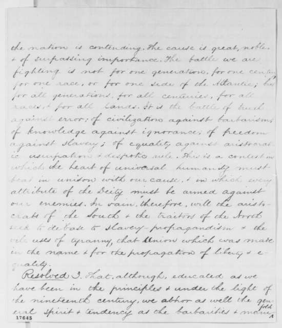 Middlebury College Alumni to Abraham Lincoln, Wednesday, August 13, 1862  (Resolutions)
