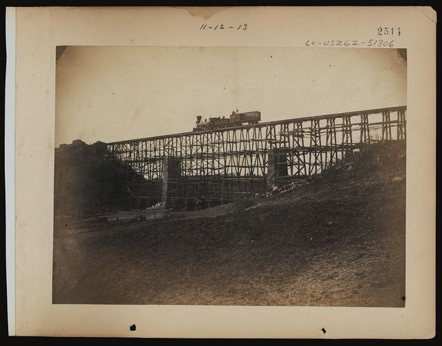 Military railroad bridge across Potomac Creek, on the Fredericksburg Railroad