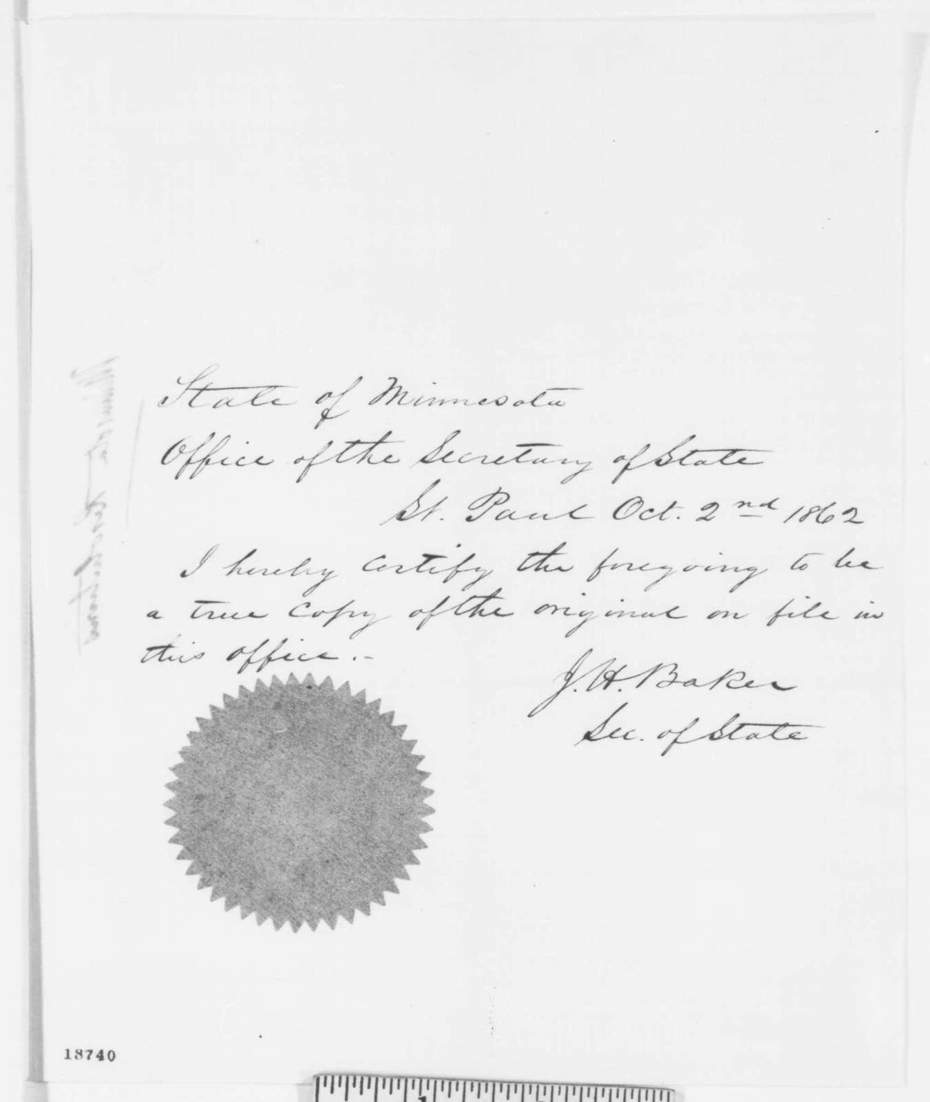 Minnesota Legislature, Monday, September 29, 1862  (Printed resolution)