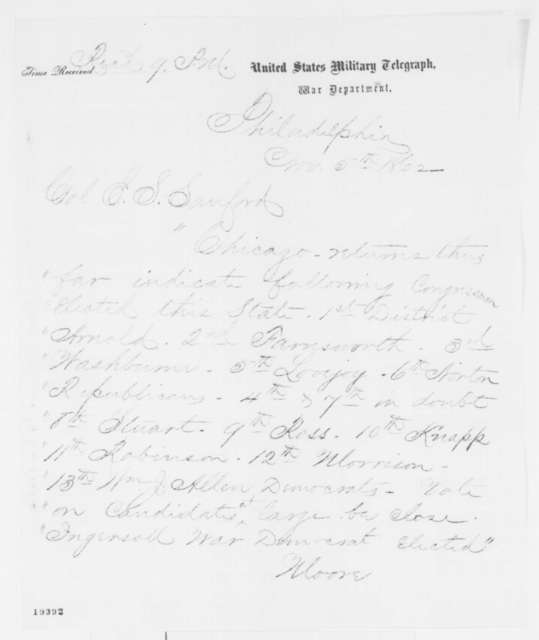 Moore to Edward S. Sanford, Wednesday, November 05, 1862  (Telegram reporting Illinois election results)