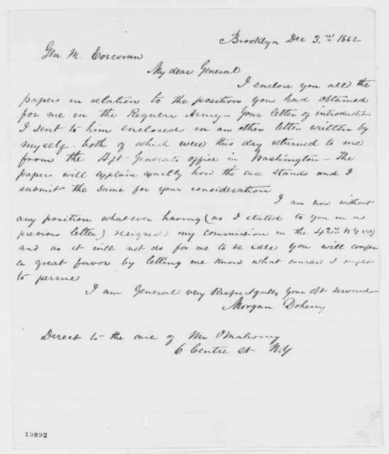 Morgan Doheny to Michael Corcoran, Wednesday, December 03, 1862  (Sends papers)