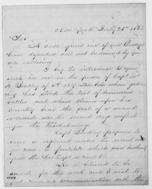 Morris Ketchum to Abraham Lincoln, Monday, July 28, 1862  (Raising of regiment; endorsed by Lincoln, July 30, 1862)