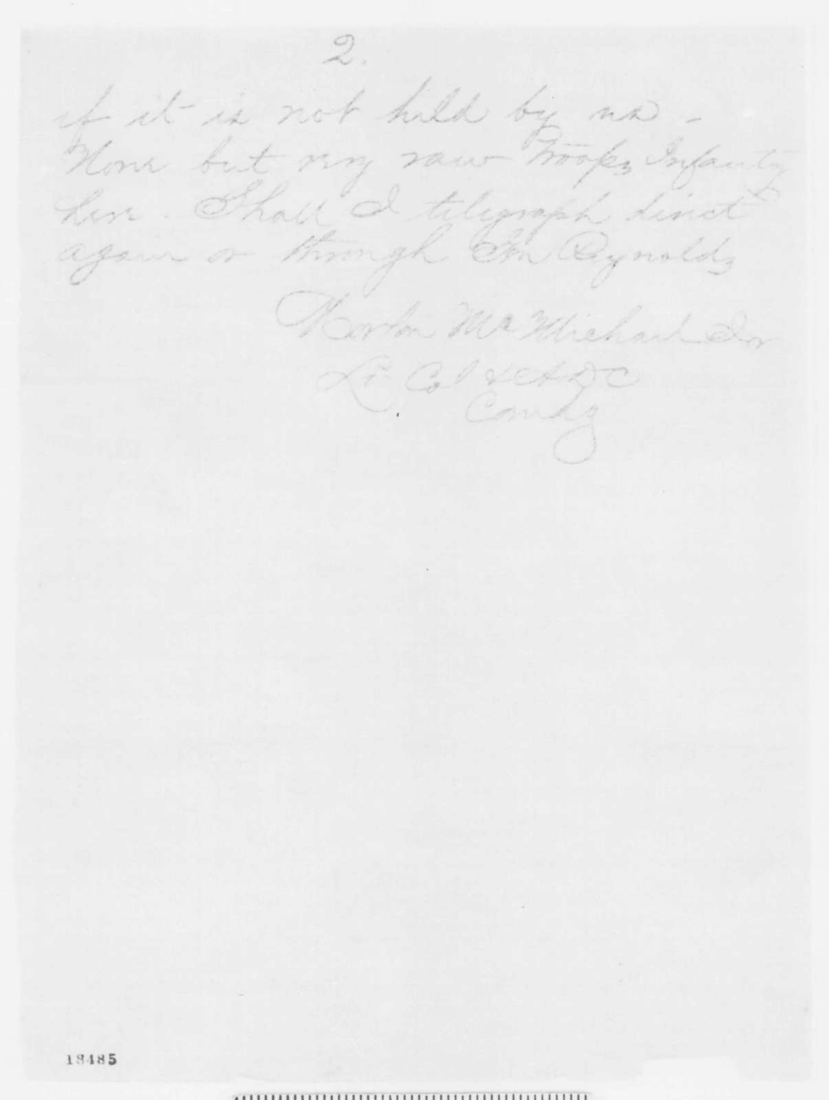 Morton McMichael Jr. to Henry Halleck, Wednesday, September 17, 1862  (Telegram concerning military affairs)