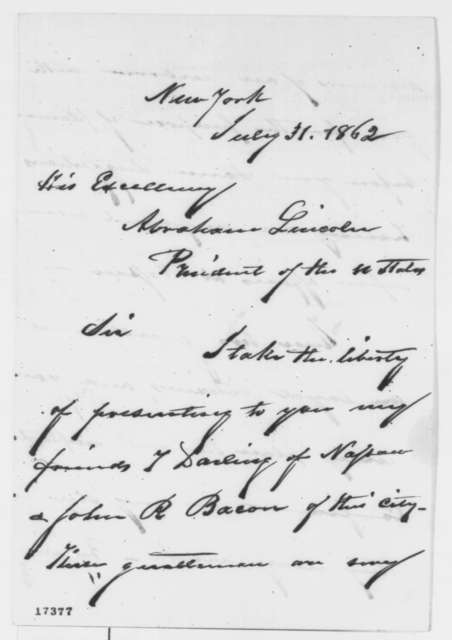 Moses H. Grinnell to Abraham Lincoln, Thursday, July 31, 1862  (Introduction)