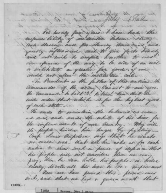 Mrs. Hiram Barney to Salmon P. Chase, July 1862  (Political affairs)