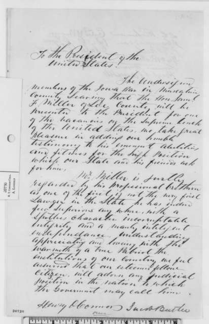 Muscatine County Iowa Bar Members to Abraham Lincoln,  1862  (Petition recommending appointment of Samuel Miller)