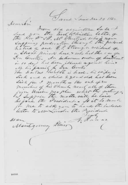 Nathan Ranney to Montgomery Blair, Saturday, December 20, 1862  (Cover letter)