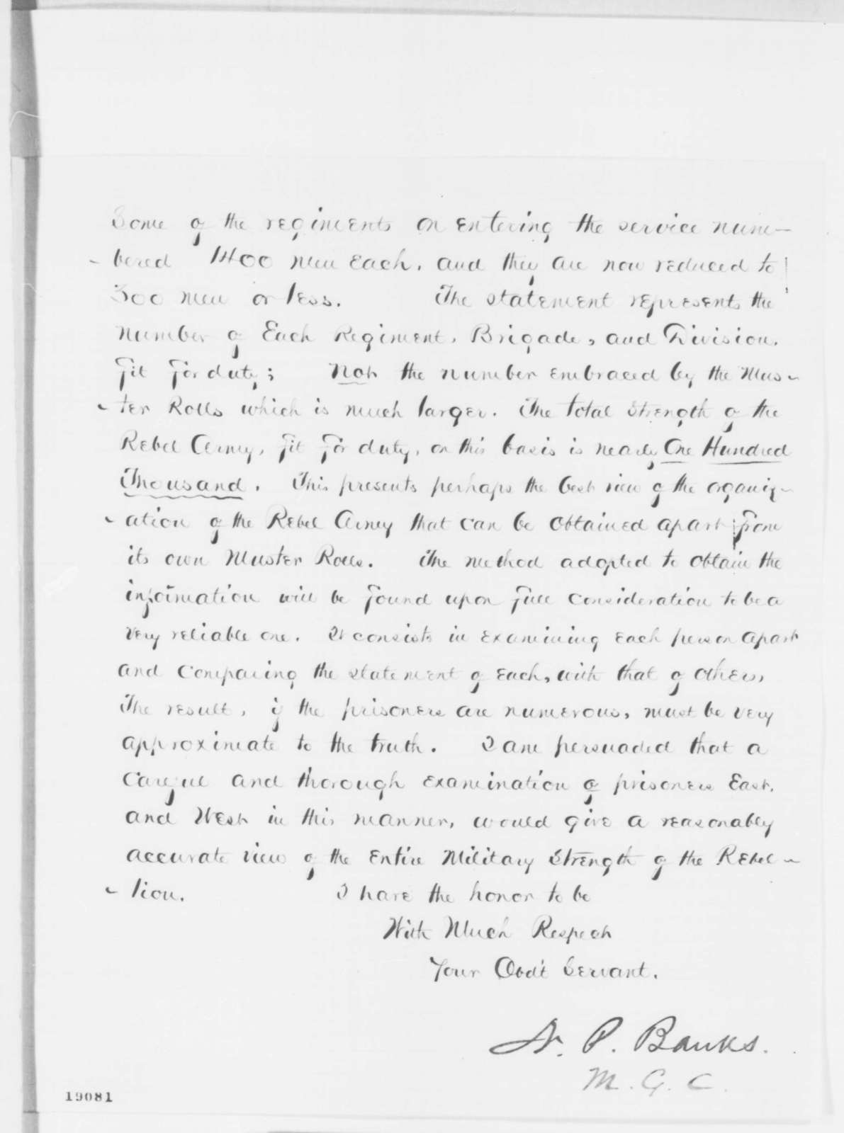 Nathaniel P. Banks to Abraham Lincoln, Monday, October 20, 1862  (Size of Lee's army)
