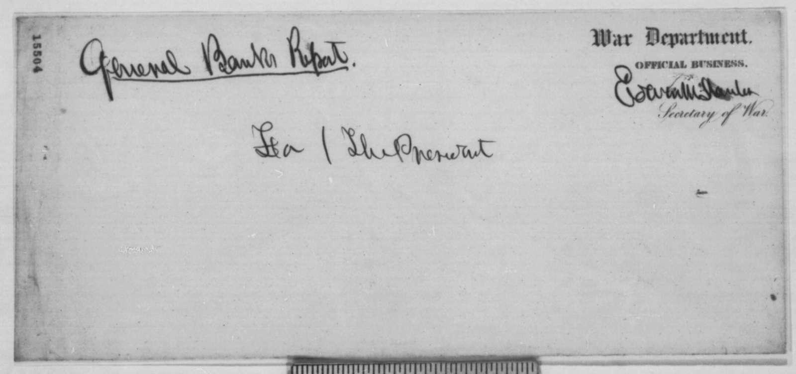 Nathaniel P. Banks to Lorenzo Thomas, Monday, April 14, 1862  (Military affairs)
