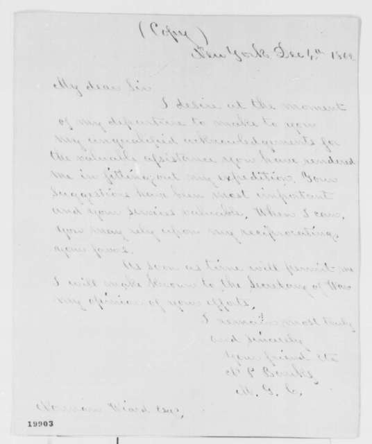 Nathaniel P. Banks to Norman Wiard, Thursday, December 04, 1862  (Appreciation for his assistance)