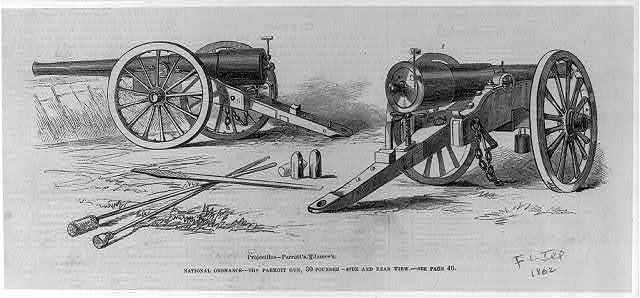 National ordnance - the parrott gun, 80-pounder - side and rear view